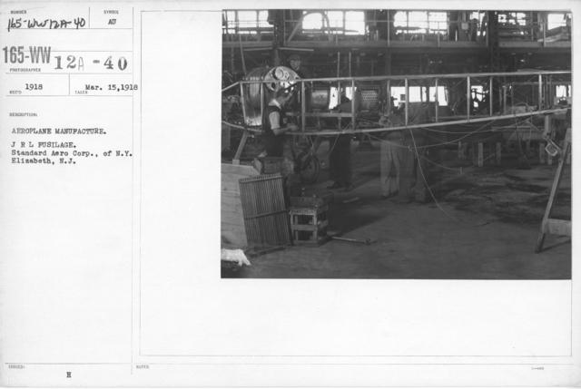 Airplanes - Manufacturing Plants - Aeroplane manufacture. JRL Fusilage. Standard Aero Corp., of N.Y. Elizabeth, N.J