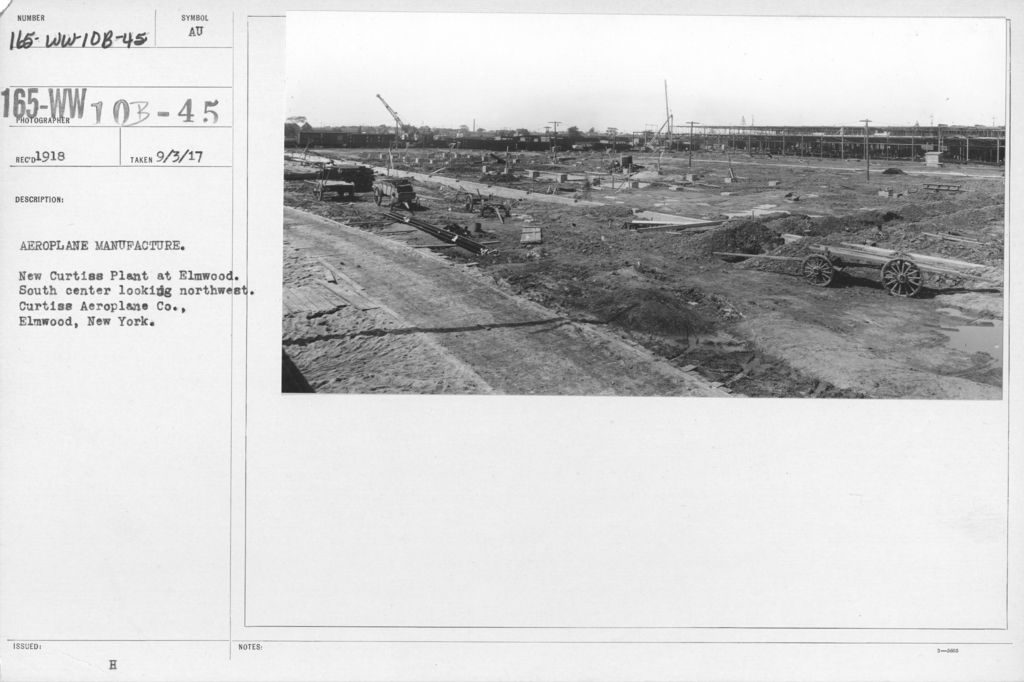 Airplanes - Manufacturing Plants - Aeroplane manufacture. New Curtiss Plant at Elwmood. South center looking northwest. Curtiss Aeroplane Co., Elmwood, New York