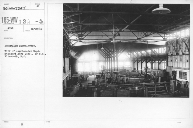 Airplanes - Manufacturing Plants - Aeroplane Manufacture. View of experimental Dept. Standard Aero Corp., of N.Y., Elizabeth N.J