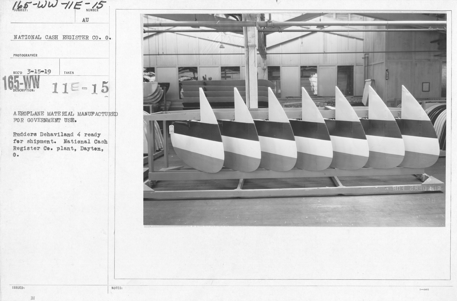 Airplanes - Manufacturing Plants - Aeroplane material manufactured for government use. Rudders De Haviland 4 ready for shipment. National Cash Register Co. plant, Dayton, O
