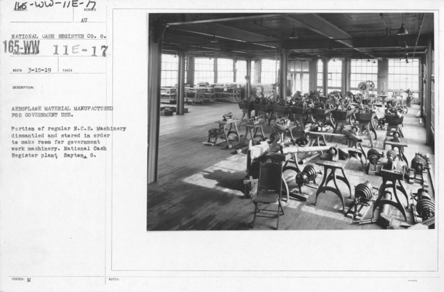 Airplanes - Manufacturing Plants - Aeroplane material manufactured for government use. Portion of regular N.C.R. machinery dismantled and stored in order to make room for government work machiner. National Cash Register plant, Dayton, O