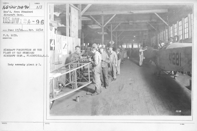 Airplanes - Manufacturing Plants - Aircraft Production at the Plant of the Standard Aircraft Corp., Plainfield, N.J. Body assembly plant # 1