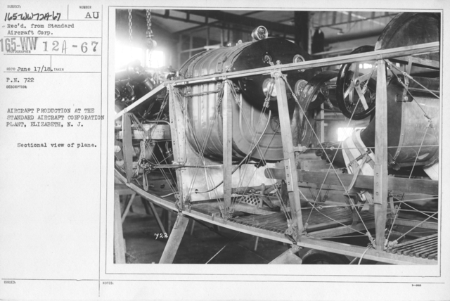 Airplanes - Manufacturing Plants - Aircraft Production at the Standard Airport Corporation Plant, Elizabeth, N.J. Sectional view of plane