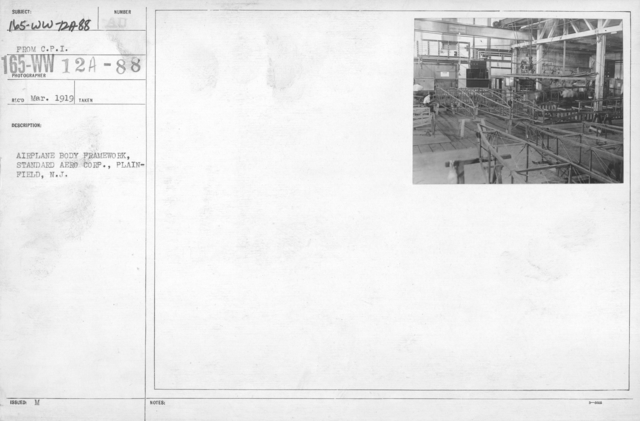Airplanes - Manufacturing Plants - Airplane body framework, Standard Aero Corp., Plainfield, N.J