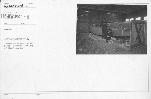 Airplanes - Manufacturing Plants - Airplane construction. Inspection of parts of the plane. Standard Aero Corp. of Elizabeth, N.J. From C.P.I