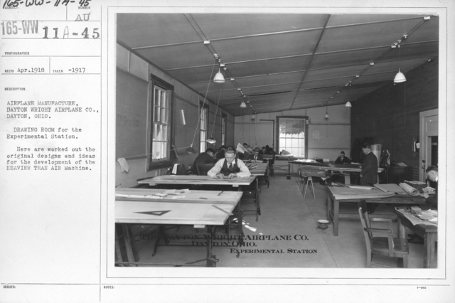 Airplanes - Manufacturing Plants - Airplane manufacture. Dayton-Wright Airplane Co., Dayton, Ohio. Drawing Room for the Experimental Station. Here are worked out the original designs and ideas for the development of the HEAVIER THAN AIR Machine
