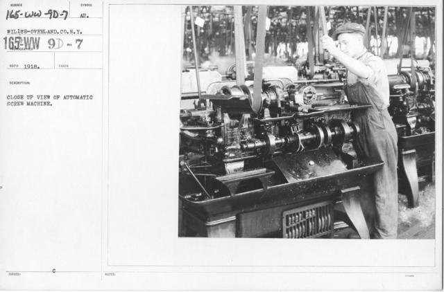 Airplanes - Manufacturing Plants - Close up view of automatic screw machine. Willys-Overland. Co. N.Y