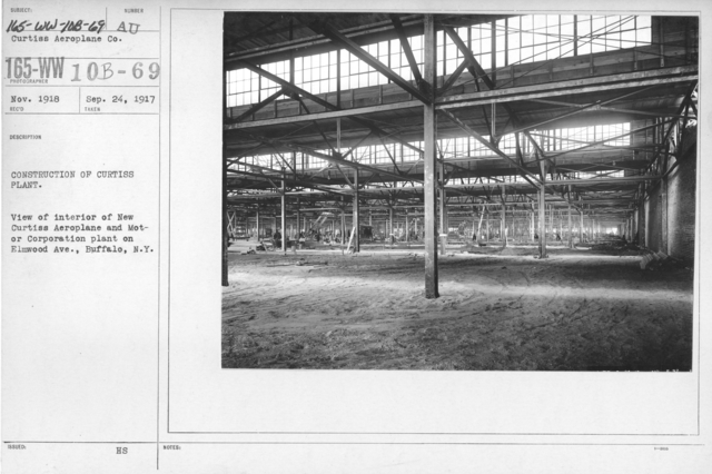 Airplanes - Manufacturing Plants - Construction of Curtiss Plant. View of interior of New Curtiss Aeroplane and Motor Corporation plant on Elmwood Ave., Buffalo, N.Y