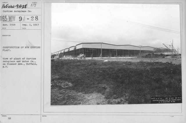 Airplanes - Manufacturing Plants - Construction of New Curtiss Plant. View of plant of Curtiss Aeroplane and Motor Co., on Elmwood Ave., Buffalo, N.Y