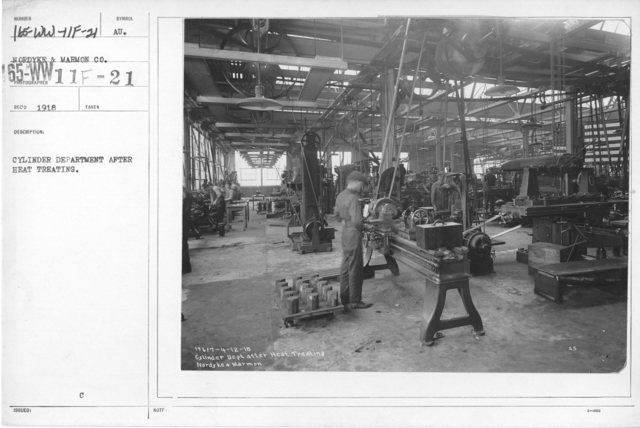 Airplanes - Manufacturing Plants - Cylinder Department after heat treating. Nordyke & Marmon Co