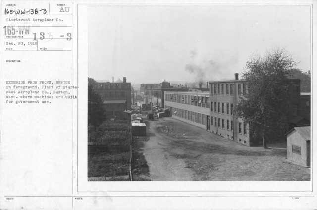 Airplanes - Manufacturing Plants - Exterior from front, office in foreground. Plant of Sturtevant Aeroplane Co., Boston, Mass., where machines are built for government use