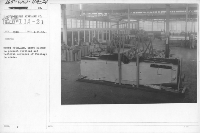 Airplanes - Manufacturing Plants - Front fuselage. Crate Blocks to prevent vertical and latteral movement of fuselage in crate. Dayton-Wright Airplane Co