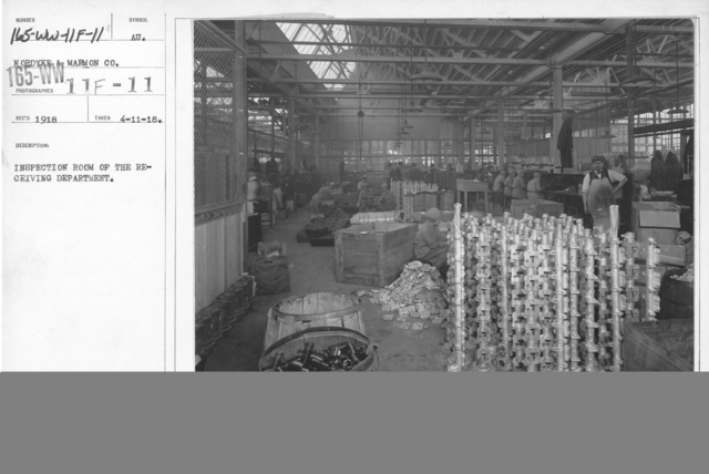 Airplanes - Manufacturing Plants - Inspection of room of the receiving department. Nordyke & Marmon Co