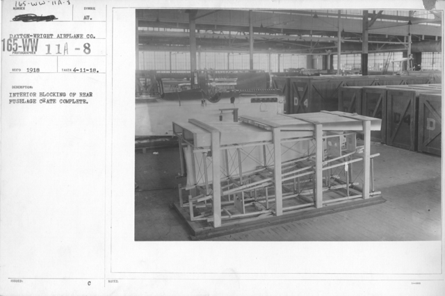 Airplanes - Manufacturing Plants - Interior blocking of rear fuselage crate complete. Dayton-Wright Airplane Co., Dayton, Ohio
