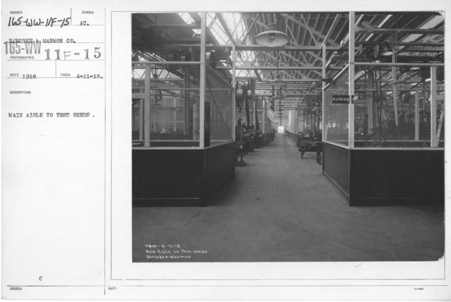 Airplanes - Manufacturing Plants - Main aisle to test sheds. Nordyke & Marmon Co