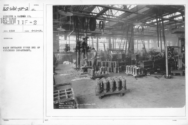 Airplanes - Manufacturing Plants - Main entrance upper end of cylinder department. Nordyke & Marmon Co