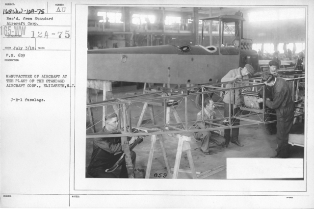 Airplanes - Manufacturing Plants - Manufacture of aircraft at the Plant of the Standard Aircraft Corp., Elizabeth, N.J. J-R-L fuselage