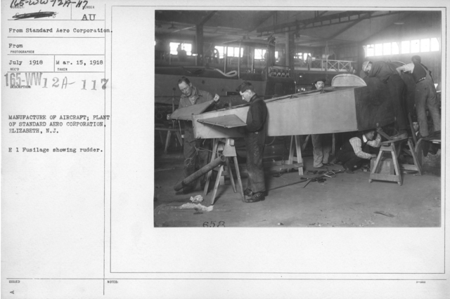 Airplanes - Manufacturing Plants - Manufacture of aircraft; Plant of Standard Aero Corporation, Elizabeth, N.J. E 1 Fuselage showing rudder