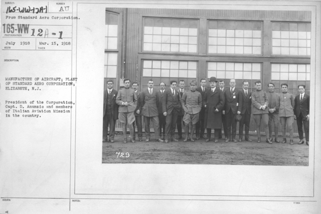 Airplanes - Manufacturing Plants - Manufacture of aircraft; Plant of Standard Aero Corporation, Elizabeth, N.J. President of the Corporation, Capt. D. Anunzio and members of Italian Avaition Mission in the country