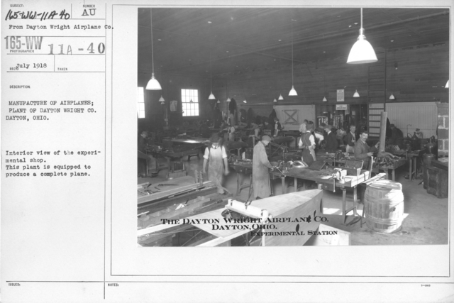 Airplanes - Manufacturing Plants - Manufacture of airplanes; Plant of Dayton Wright Co., Dayton Ohio. Interior view of the experimental shop. This plant is equipped to produce a complete plane
