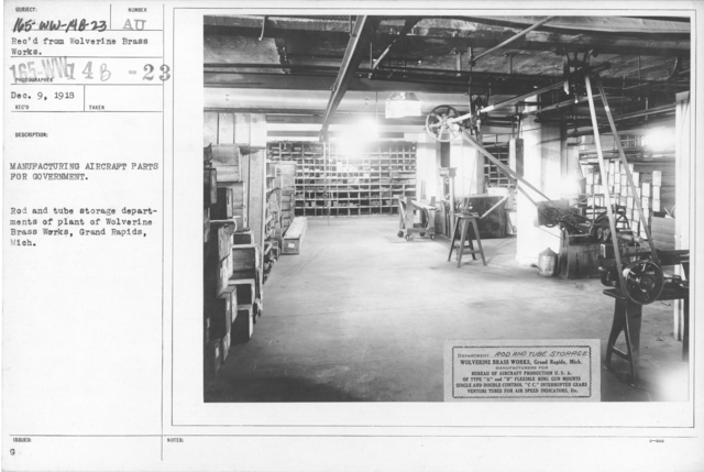 Airplanes - Manufacturing Plants - Manufacturing Aircraft Parts for Government. Rod and tube storage departments of plant of Wolverine Brass Works, Grand Rapids, Mich