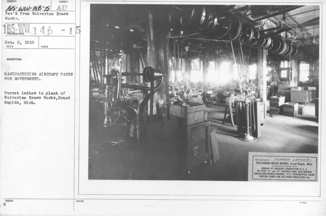 Airplanes - Manufacturing Plants - Manufacturing Aircraft Parts for Government. Turret lathes in plant of Wolverine Brass Works, Grand Rapids, Mich