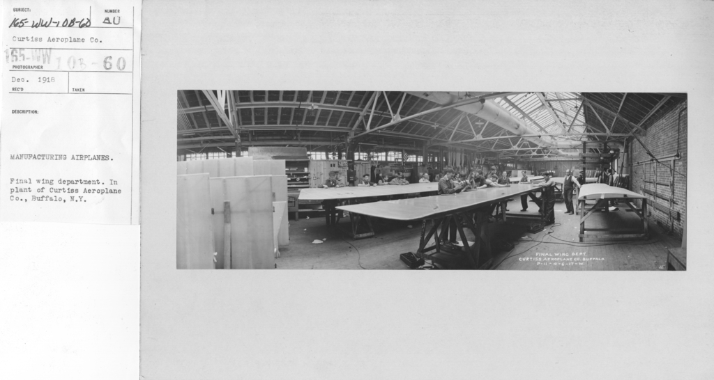 Airplanes - Manufacturing Plants - Manufacturing airplanes. Final wing department. In plant of Curtiss Aeroplane Co., Buffalo, N.Y