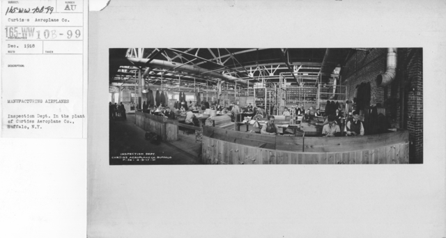 Airplanes - Manufacturing Plants - Manufacturing airplanes. Inspection Dept. In the plant of Curtiss Aeroplane Co., Buffalo, N.Y
