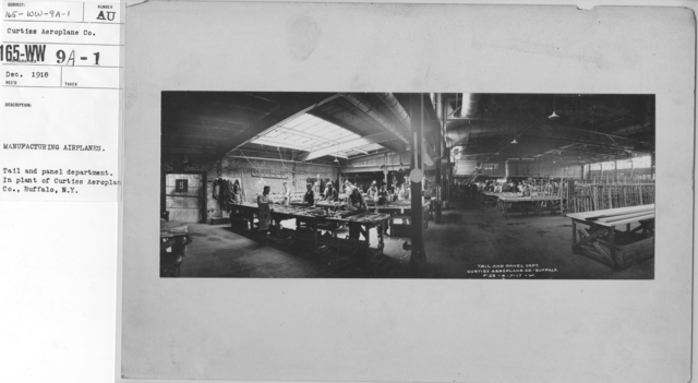 Airplanes - Manufacturing Plants - Manufacturing airplanes. Tail and panel department. In plant of Curtiss Aeroplane Co., Buffalo, N.Y