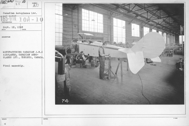 Airplanes - Manufacturing Plants - Manufacturing Canadian J.N.4 Airplanes; Canadian Aeroplanes Ltd., Toronto, Canada. Final Assembly