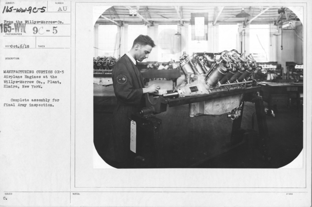 Airplanes - Manufacturing Plants - Manufacturing Curtiss OX-5 Airplane Engines at the Willys-Morrow Co. Plant, Elmira, New York. Complete assembly for final Army inspection