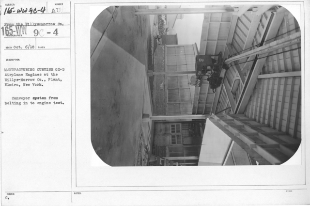 Airplanes - Manufacturing Plants - Manufacturing Curtiss OX-5 Airplane Engines at the Willys-Morrow Co. Plant, Elmira, New York. Conveyor system from belting in to engine test