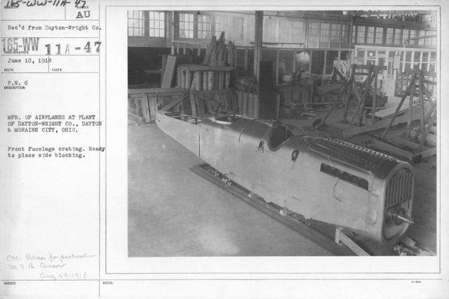 Airplanes - Manufacturing Plants - MFR of airplanes at plant of Dayton-Wright, Co., Daytong & Moraine City, Ohio. Front fuselage crating. Ready to place side blocking