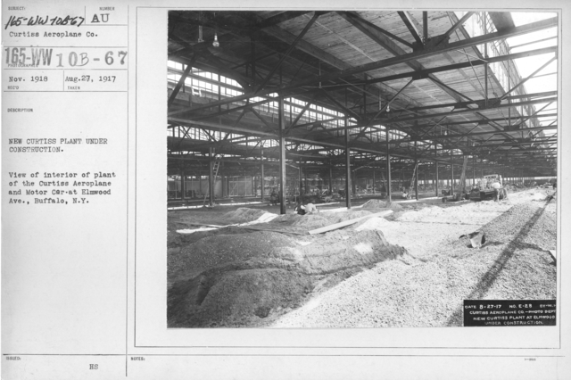 Airplanes - Manufacturing Plants - New Curtiss Plant under construction. View of interior of plant of the Curtiss Aeroplane and Motor Car at Elmwood Ave., Buffalo, N.Y