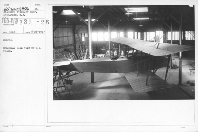 Airplanes - Manufacturing Plants - Overhead side view of J.R. plane. Standard Aircraft Corp. Elizabeth, N.J