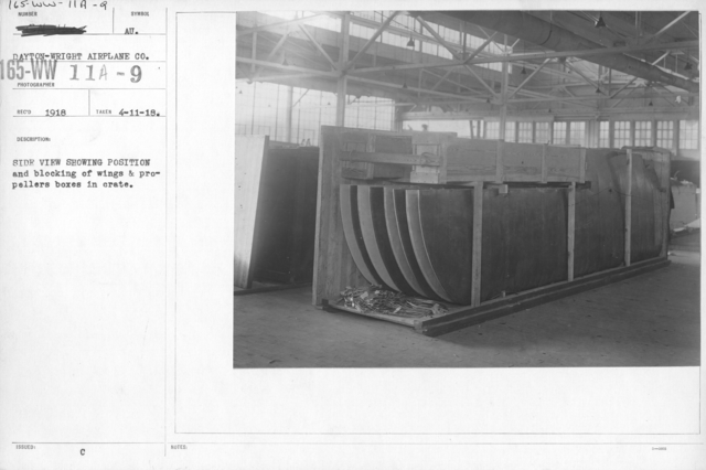 Airplanes - Manufacturing Plants - Side view showing position and bocking of wings and propellers boxes in crate. Dayton-Wright Airplane Co