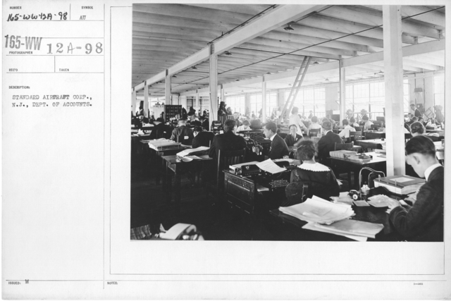 Airplanes - Manufacturing Plants - Standard Aircraft Corp., N.J., Dept. of Accounts