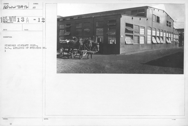 Airplanes - Manufacturing Plants - Standard Aircraft Corp., N.J., Exterior of Building No. 1