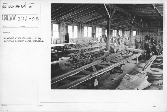 Airplanes - Manufacturing Plants - Standard Aircraft Corp., N.J. Interior Handley Page Building