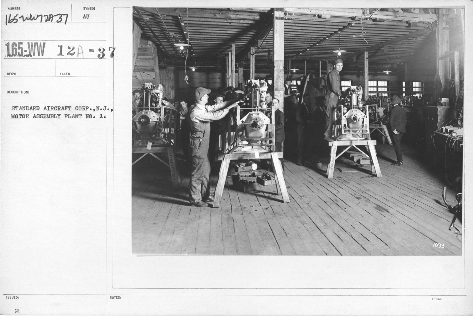 Airplanes - Manufacturing Plants - Standard Aircraft Corp., N.J., Motor Assembly Plant No. 1
