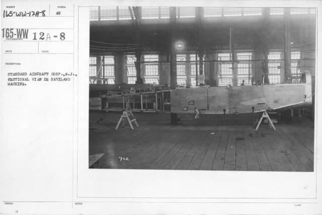 Airplanes - Manufacturing Plants - Standard Aircraft Corp., N.J., Sectional view De Haviland machine
