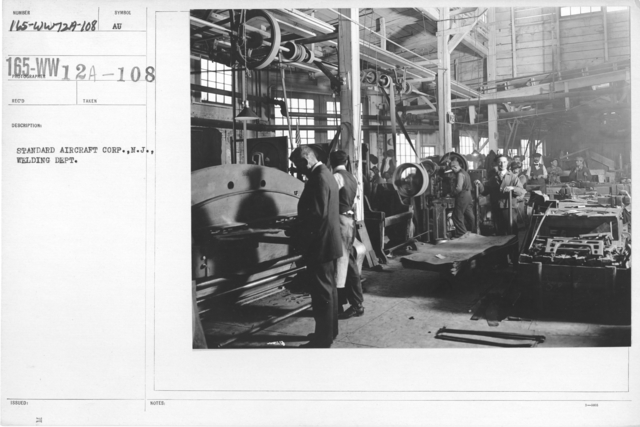 Airplanes - Manufacturing Plants - Standard Aircraft Corp., N.J., Welding Dept