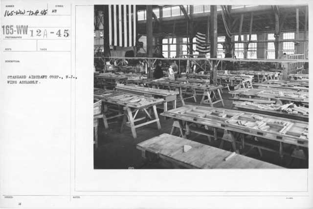 Airplanes - Manufacturing Plants - Standard Aircraft Corp., N.J., Wing Assembly
