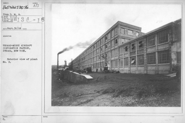 Airplanes - Manufacturing Plants - Thomas-Morse Aircraft Corporation Factory, Ithaca, New York. Exterior view of plant No. 2