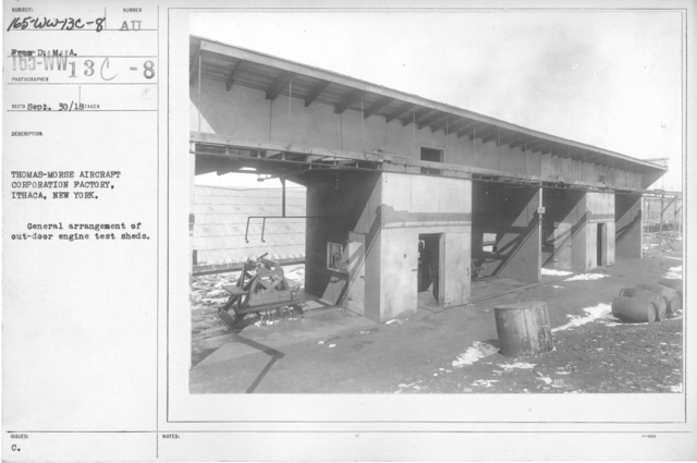 Airplanes - Manufacturing Plants - Thomas-Morse Aircraft Corporation Factory, Ithaca, New York. General arrangment of outdoor engine test sheds