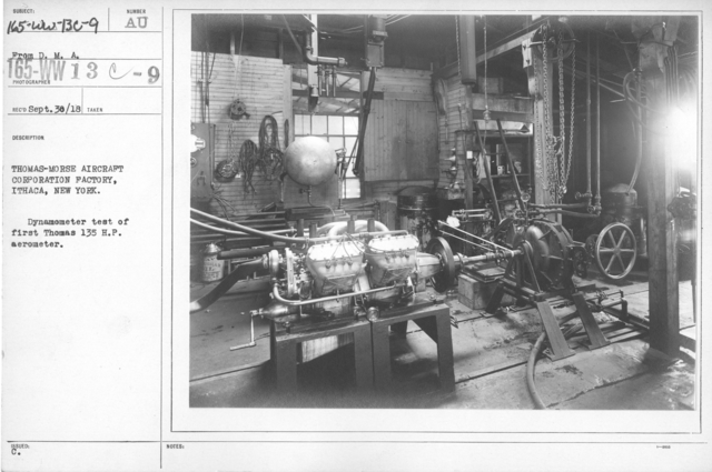 Airplanes - Manufacturing Plants - Thomas-Morse Aircraft Corporation Factory, Ithaca, New York. Dynamometer test of first Thomas 135 H.P. aerometer