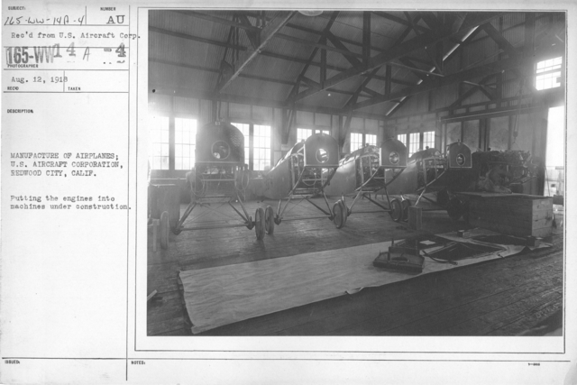 Airplanes - Manufacturing Plants - U.S. Aircraft Corp. Redwood City, California