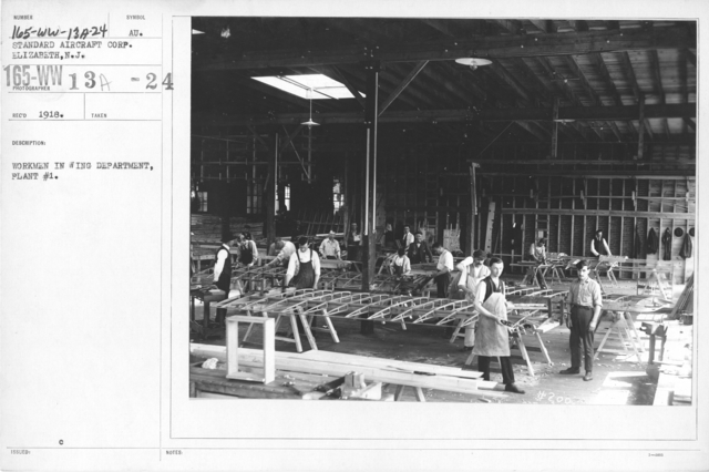 Airplanes - Manufacturing Plants - Workmen in Wing Department, Pant #1. Standard Aircraft Corp. Elizabeth, N.J