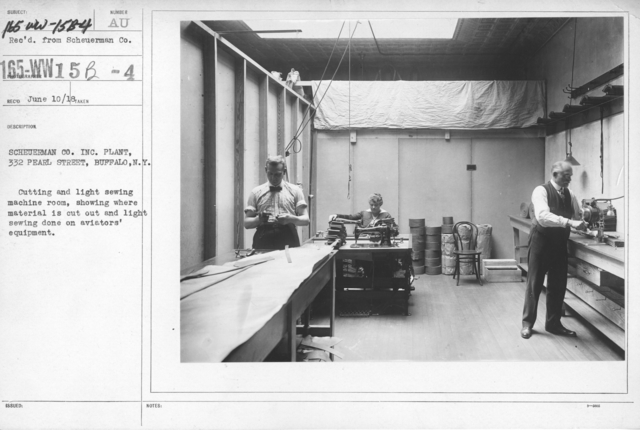 Airplanes - Materials - Scheuerman Co. Inc. Plant, 332 Pearl Street, Buffalo, N.Y. Cutting and light sewing machine room, showing where material is cut out and light sewing done on aviators' equipment