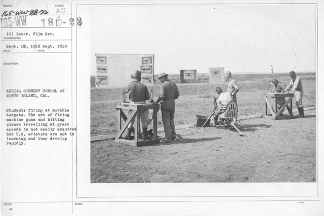 Airplanes - Miscellaneous - Aerial Gunnery School at North Island, CAL. Students firing at movable targets. The art of firing machine guns and hitting planes travelling at great speeds is not easily acquired but U.S. aviators are apt in learning and they develop rapidly. Inter. Film Service